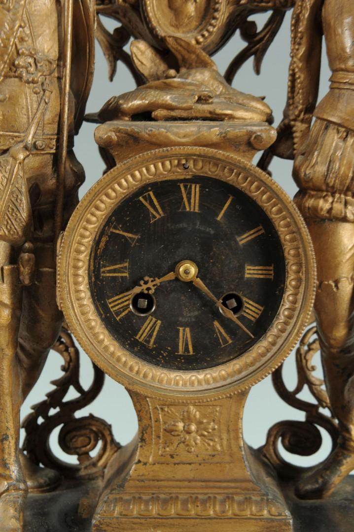 Lot 356: Spelter figural mantle clock, Samuel Marti movemen