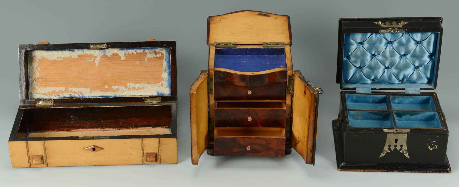 3 Decorative Boxes and Pair of Asian Shelves
