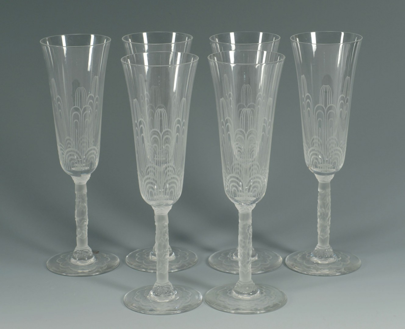 Set of 6 Baccarat Crystal Champagne Glasses