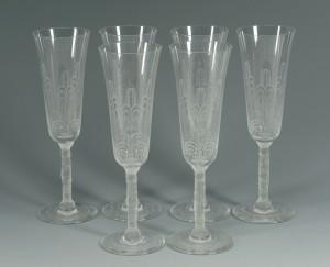 Lot 360: Set of 6 Baccarat Crystal Champagne Glasses