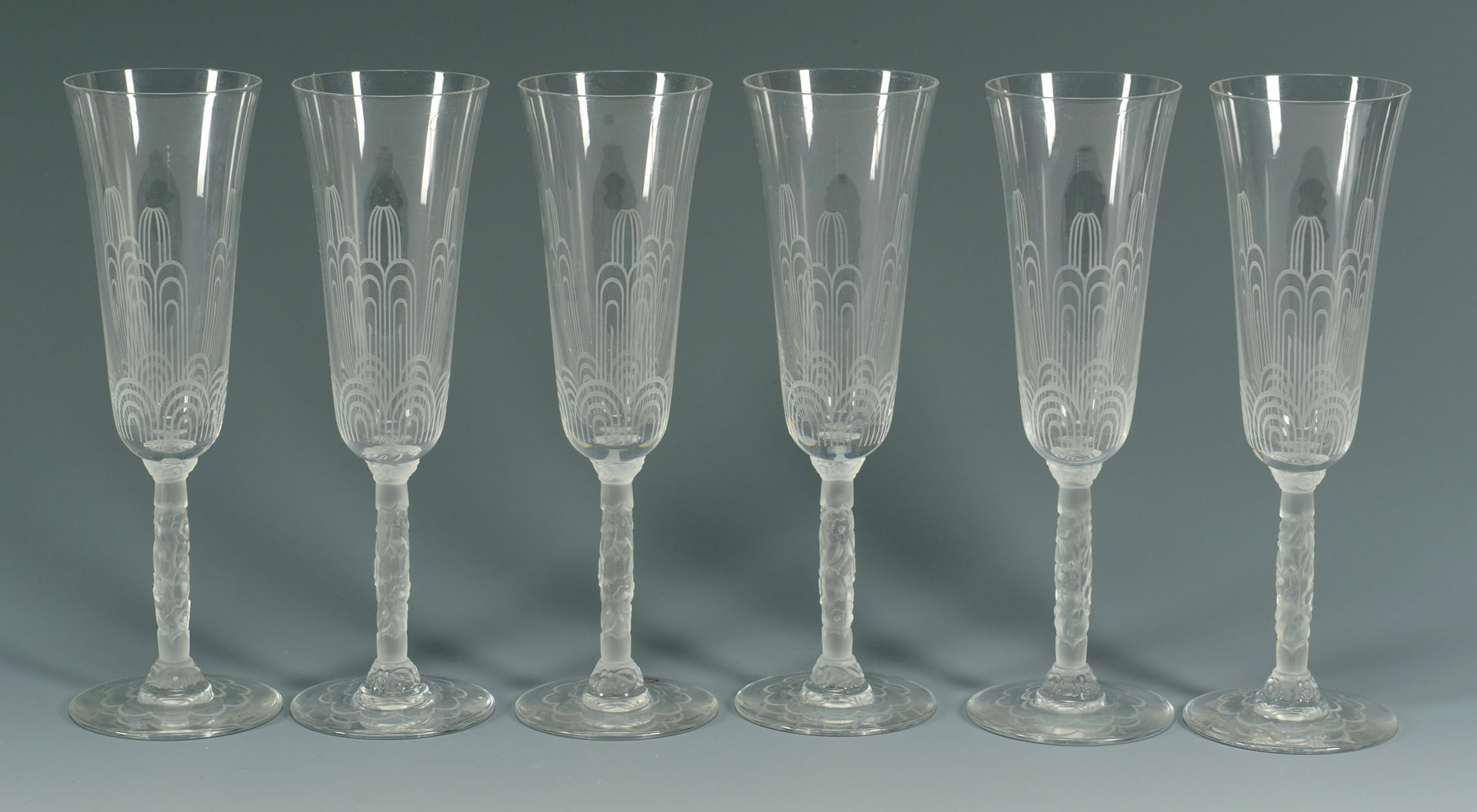 Lot 360: Set of 6 Baccarat Crystal Champagne Glasses