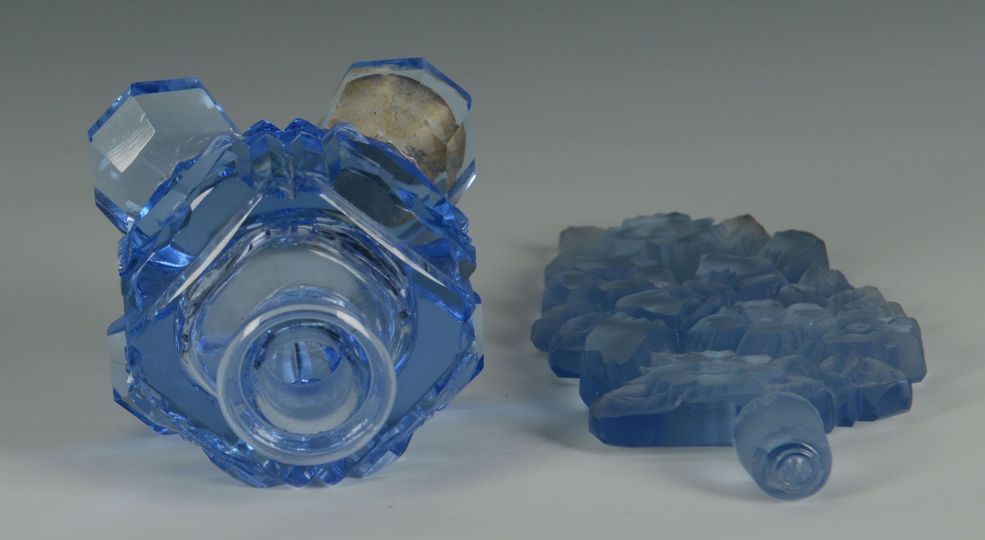 Lot 361: Vintage Blue Czech Crystal Perfume, openwork stopp