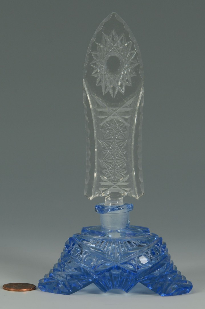 Lot 362: Vintage Blue Czech Crystal Perfume, cut clear stop