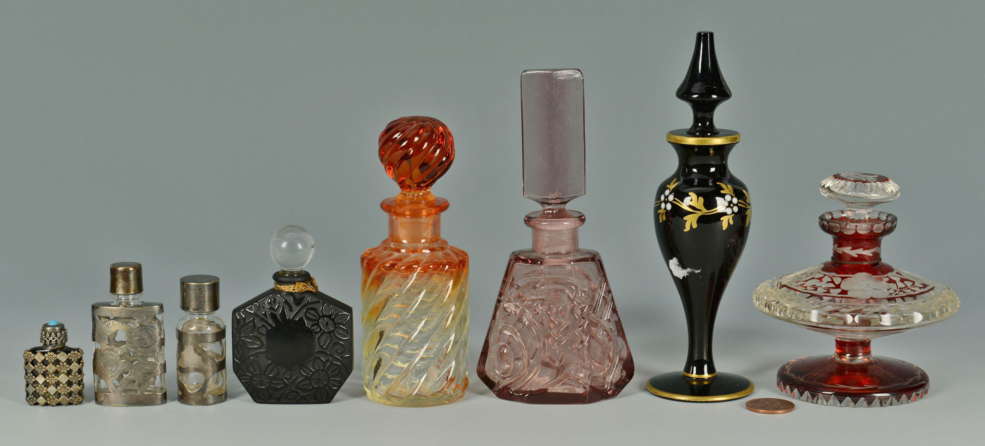 8 Vintage Decorative Perfume Bottles inc. colored