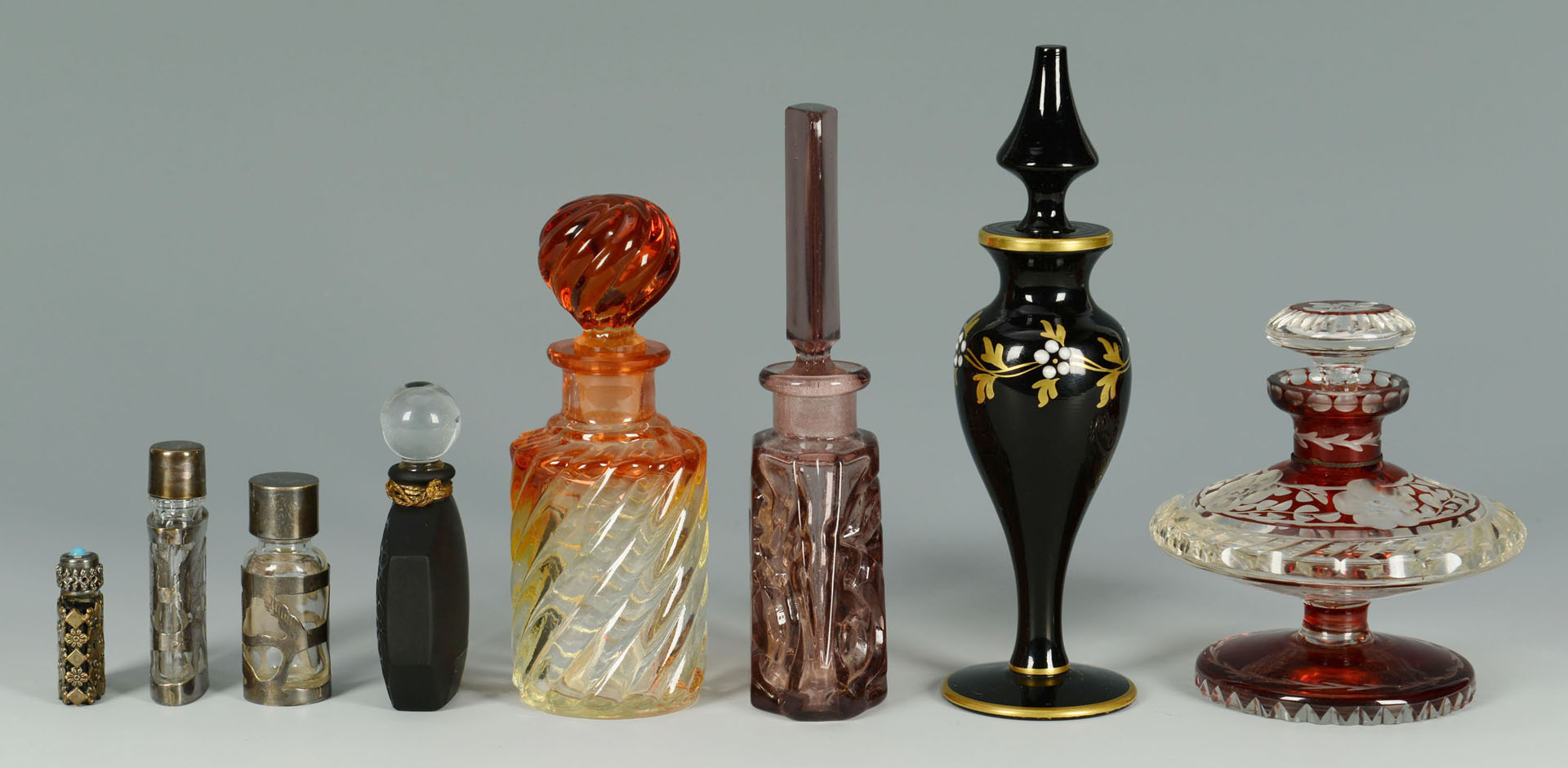 8 Vintage Decorative Perfume Bottles inc. colored