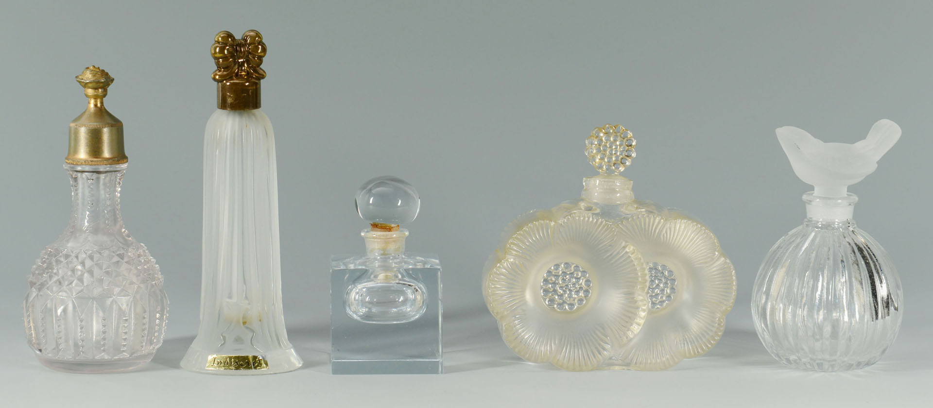 Lot 364: 5 Vintage glass perfume bottles inc. Lalique