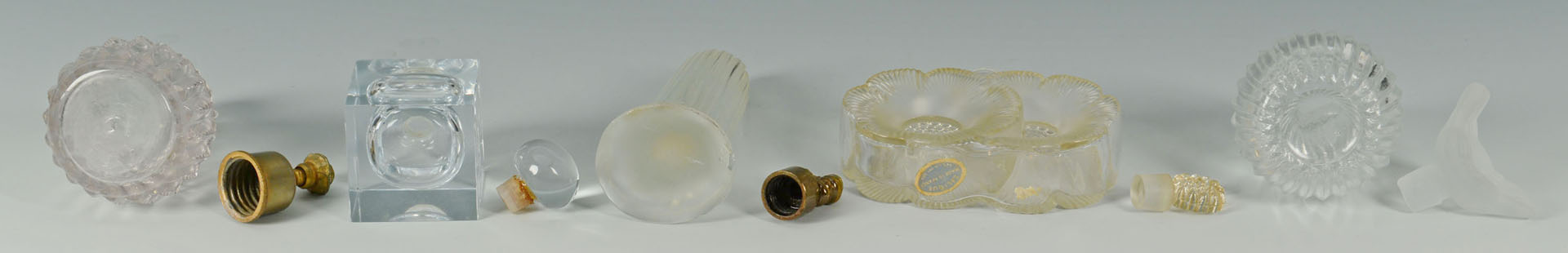 5 Vintage glass perfume bottles inc. Lalique