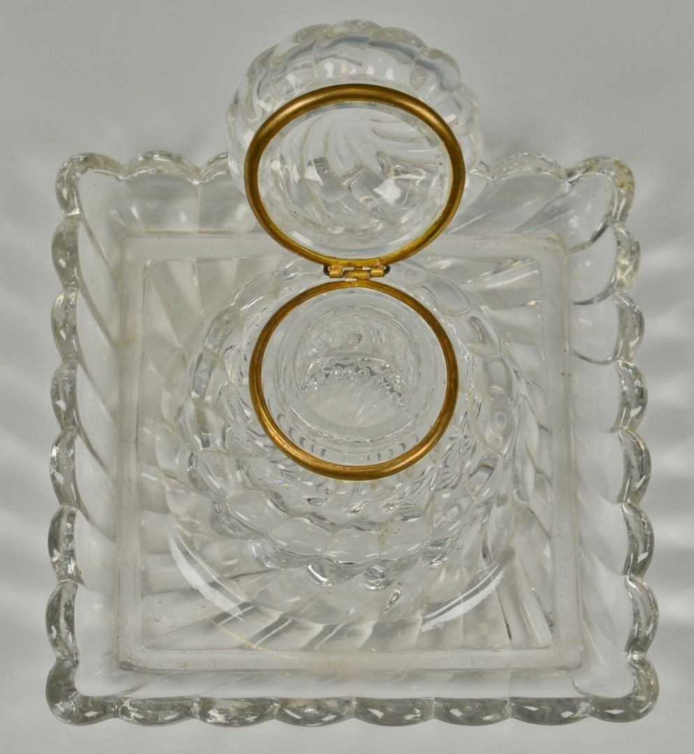Large Baccarat Marked Glass Inkwell