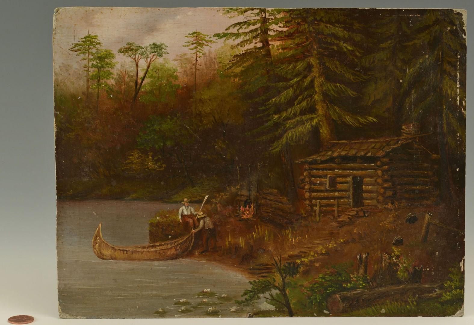 Oil on Board Landscape of Log Cabin & Canoe