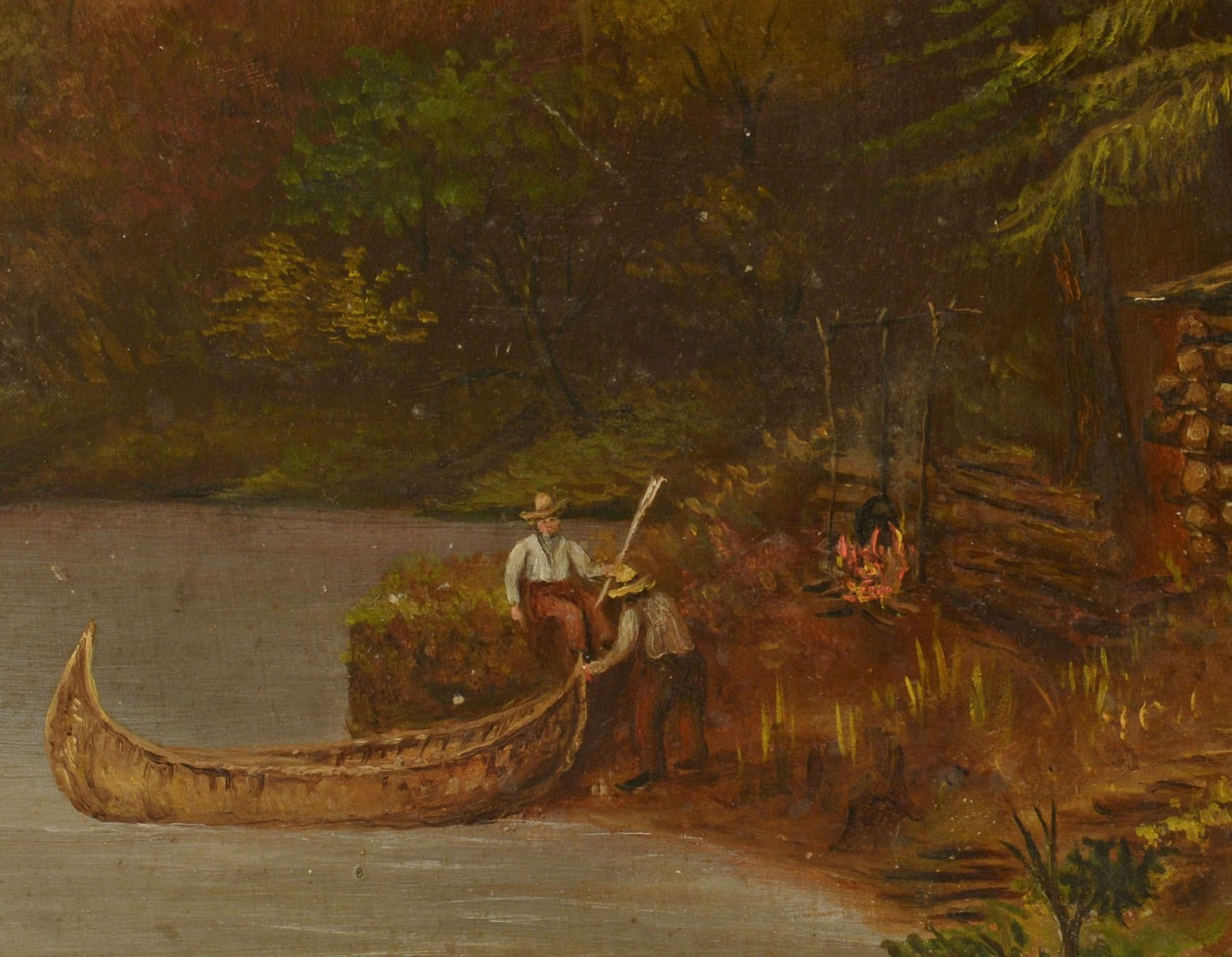 Lot 369: Oil on Board Landscape of Log Cabin & Canoe