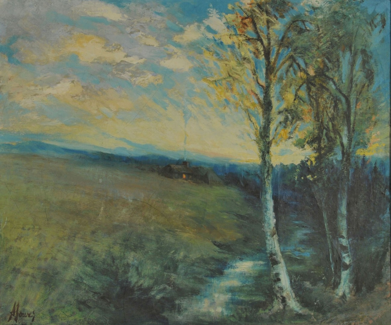 Lot 375: Oil on canvas Landscape of Homestead