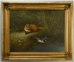 Lot 377: Oil on board, Fox preying on mallard duck