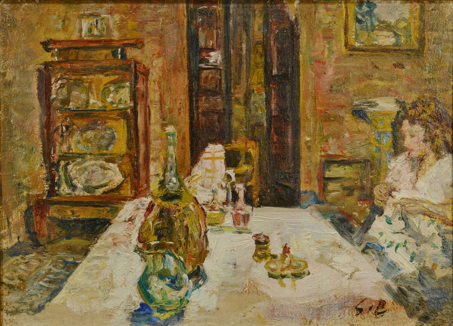 Lot 37: Guido Borgianni, o/c, Interior Scene, 1946