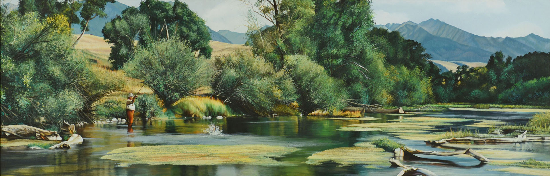 Lot 380: Shirley Cleary w/c Fly Fisherman