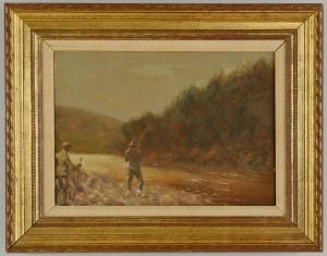 Lot 381: Scottish Oil on Canvas Fly Fishing Landscape