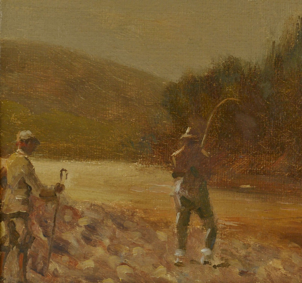 Lot 381: Scottish Oil on Canvas Fly Fishing Landscape