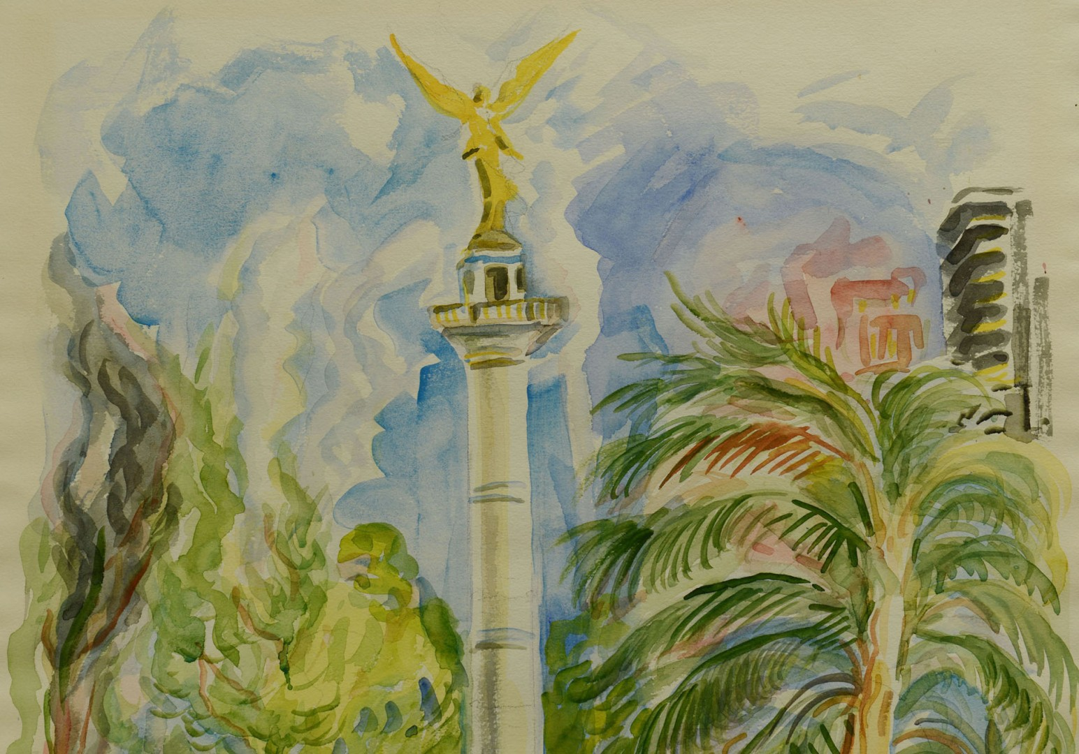 Lot 382: Frederick Yost Watercolor of Mexico City