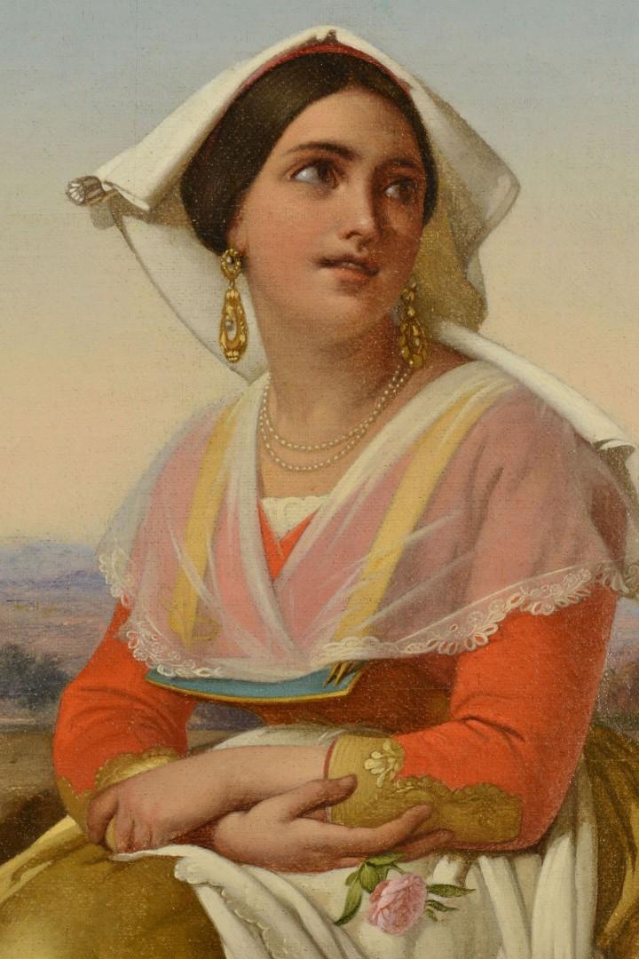 Lot 387: 19th c. Orientalist School Pair Female Portraits