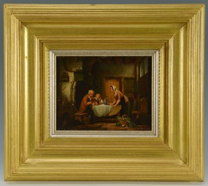 Lot 389: European Interior Scene, o/b, Feeding Birds