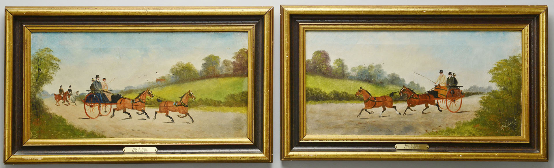 Philip Rideout, Pair of Carriage Scenes, oil on canvas