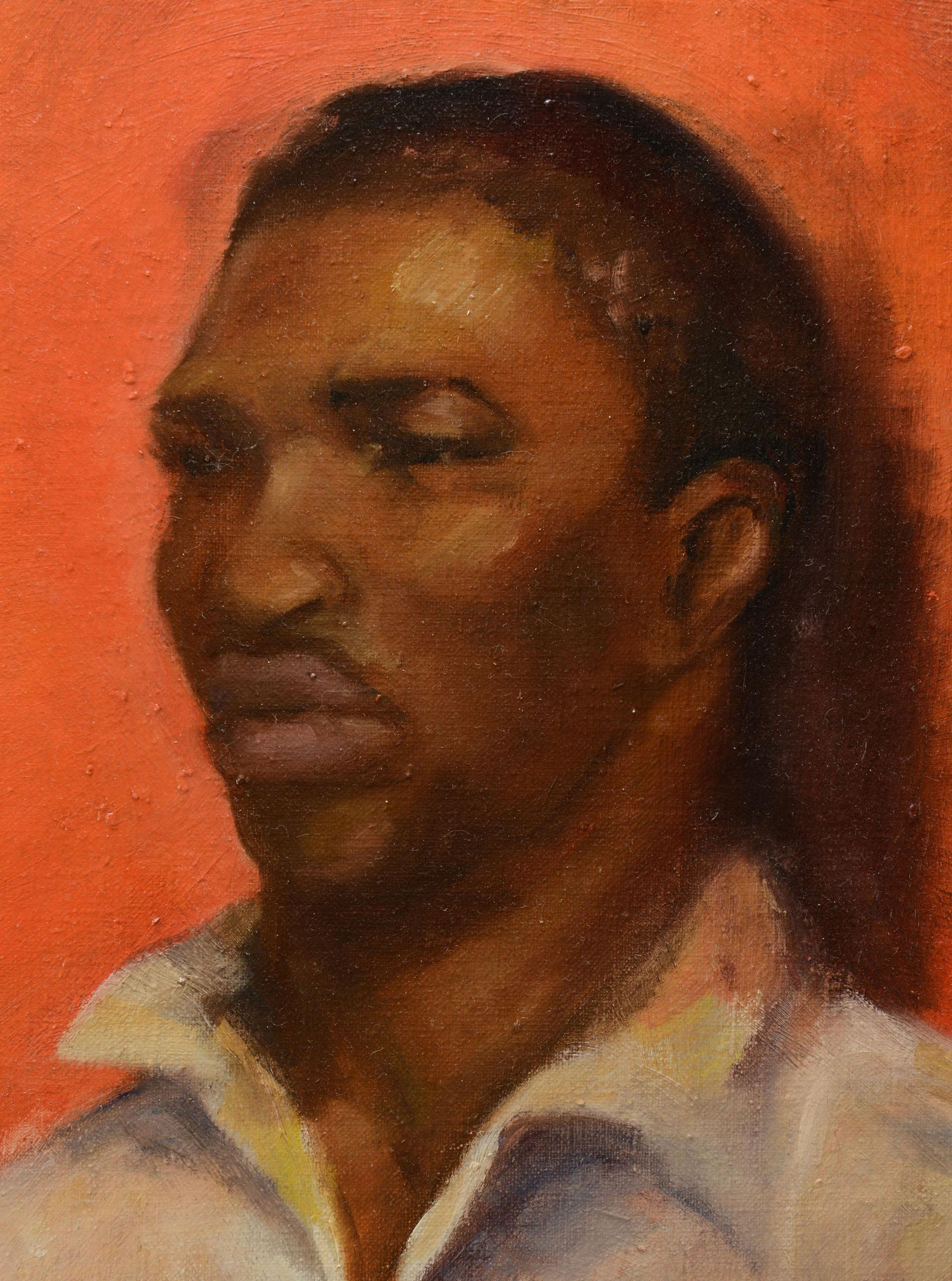 Oil On Canvas Portrait Of A Black Man