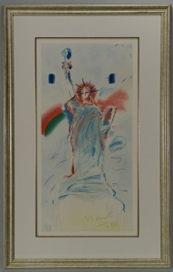 Lot 397: Peter Max Colored Lithograph, Statue of Liberty