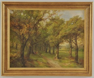 Lot 39: John Holding, 19th c. oil on canvas landscape