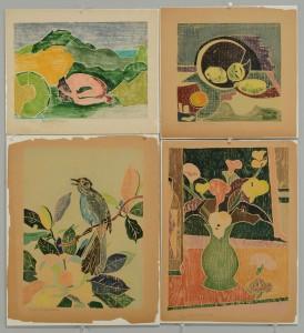 Lot 402: 4 Beulah Tomlinson Wood Cut Block Prints