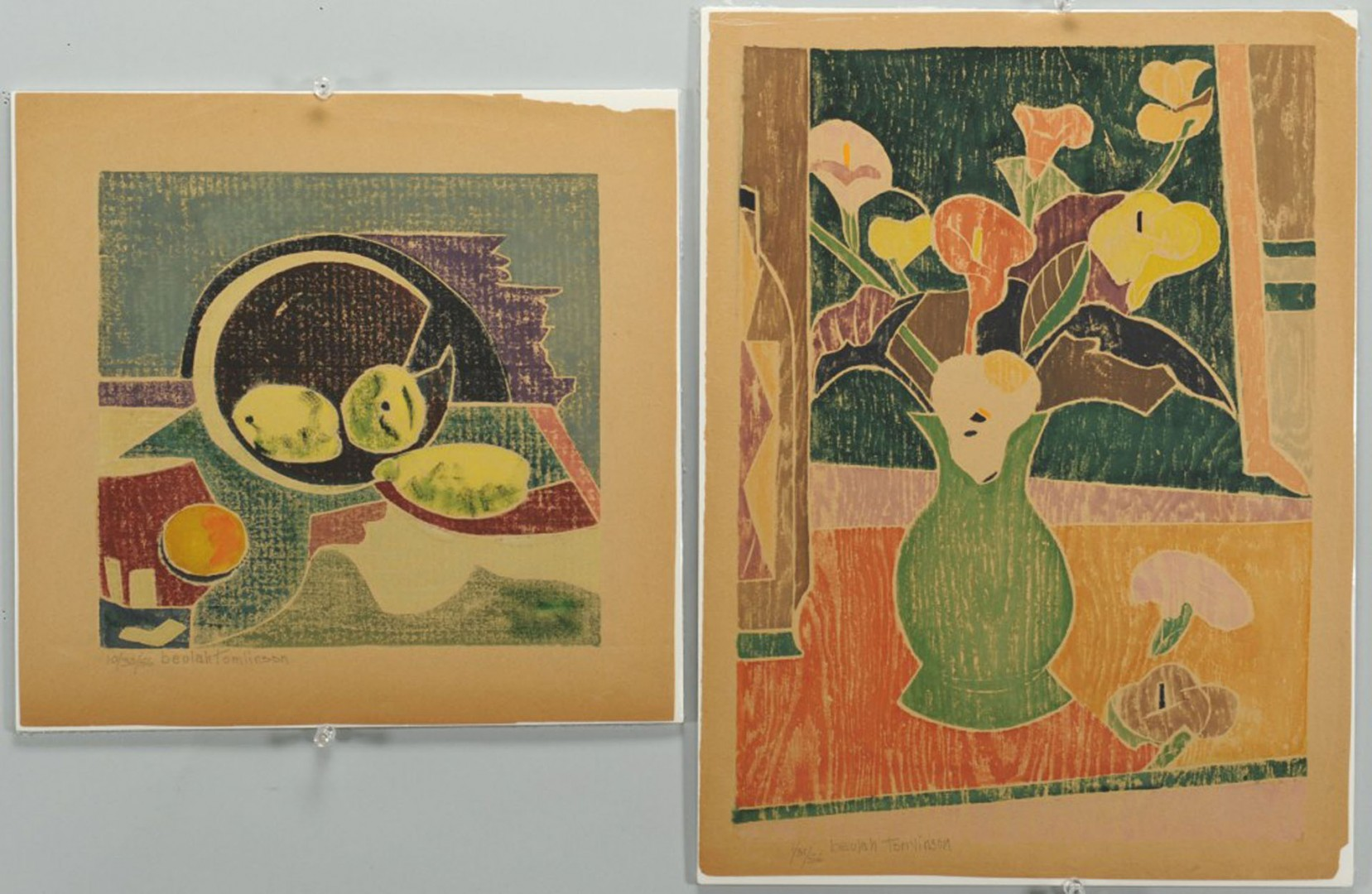 4 Beulah Tomlinson Wood Cut Block Prints