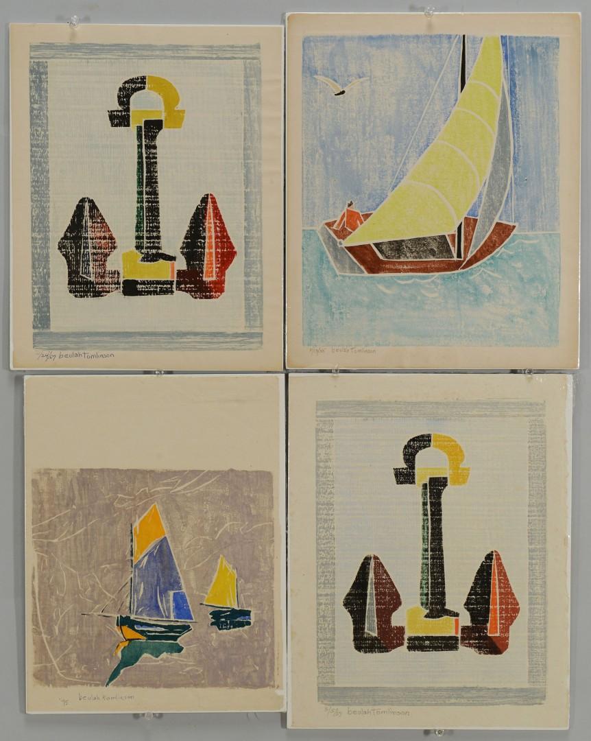 Lot 403: 4 Beulah Tomlinson Block Prints: Boats/Anchors