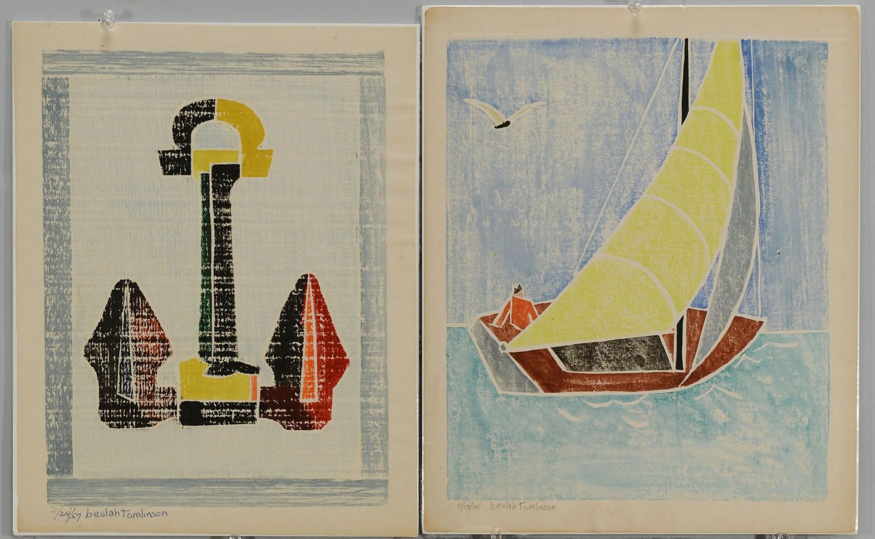 4 Beulah Tomlinson Block Prints: Boats/Anchors