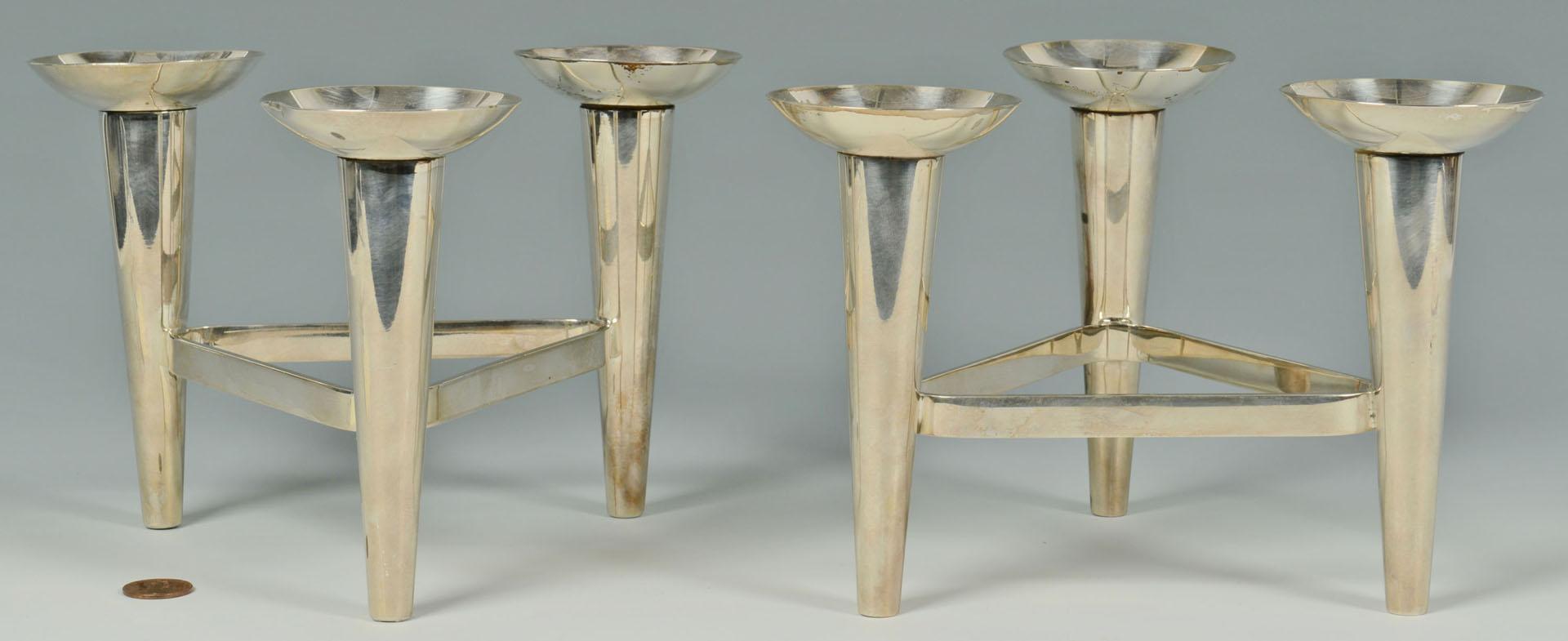 Lot 413: Pair German Bauhaus style Candleabra, WMF