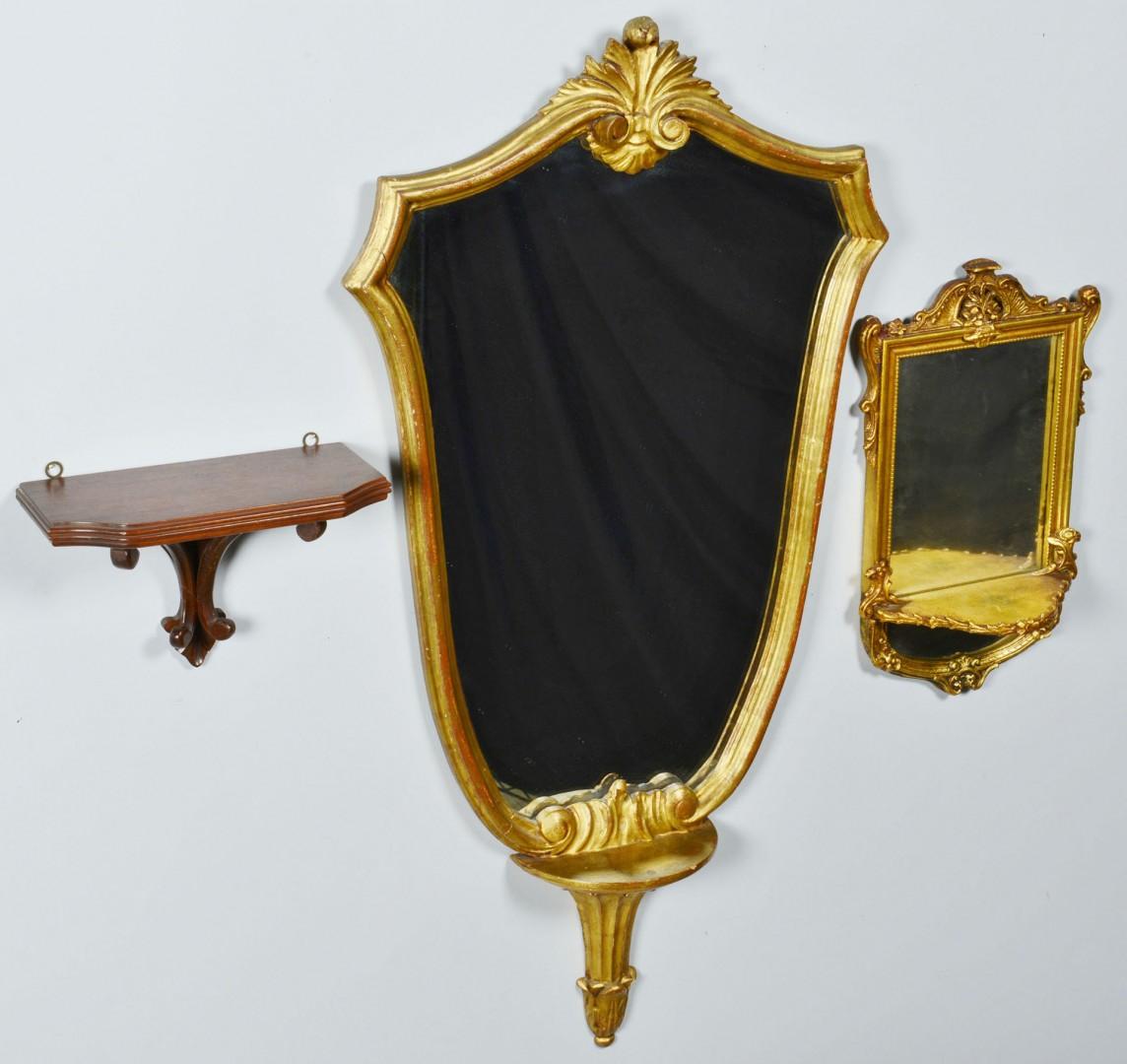 Lot 418: 2 Italian Gilt Mirrors & Wooden Sconce