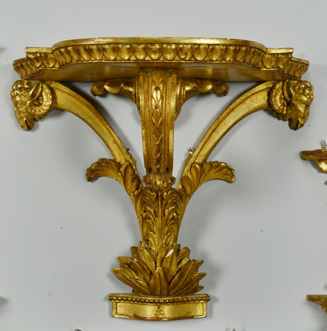 Grouping of 5 Gilt Sconces