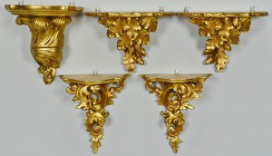 Lot 420: Grouping of 5 Italian Gilt Sconces