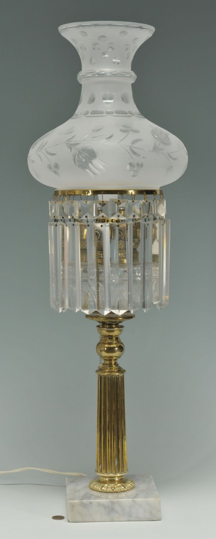Lot 423: Astral style Lamp with Etched Shade and Prisms