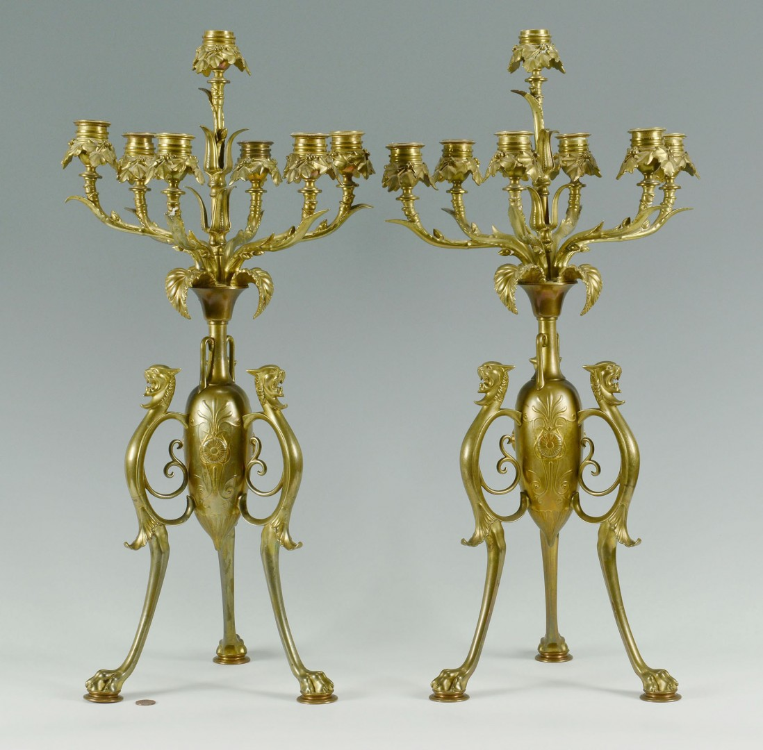 Lot 424: Pair Large Brass Gothic Style Candelabra