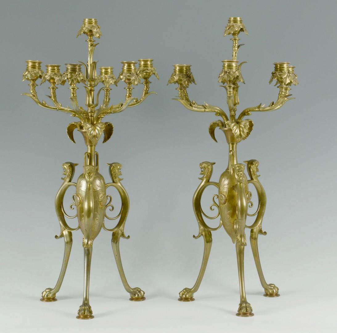 Pair Large Brass Gothic Style Candelabra