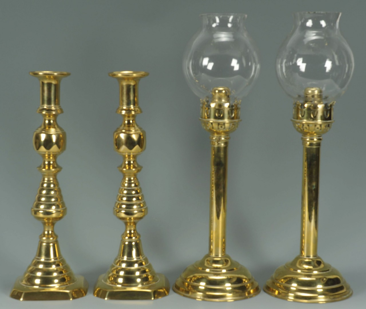 4 Pairs Brass Candlesticks, 1 with shades, 8 total