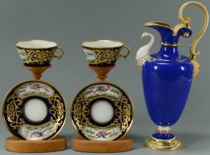 Lot 429: KPM Porcelain Ewer & Sevres Cups w/ Saucers