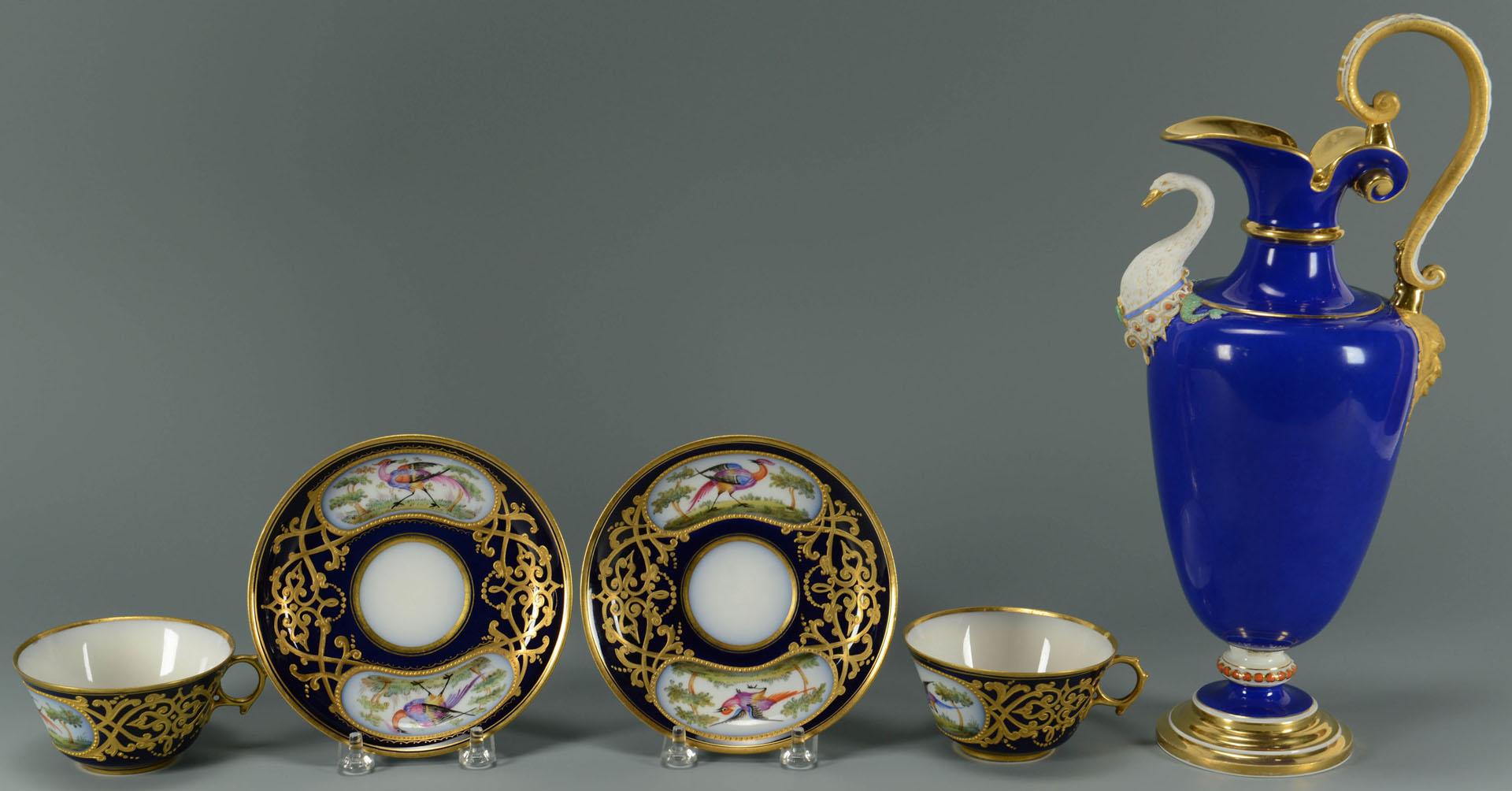 KPM Porcelain Ewer & Sevres Cups w/ Saucers