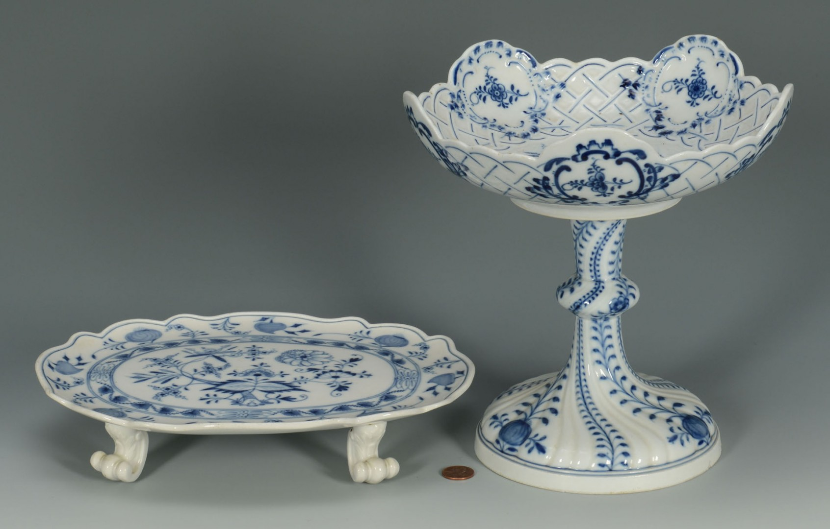 Lot 431: Grouping of Blue Onion Porcelain, 2 Meissen