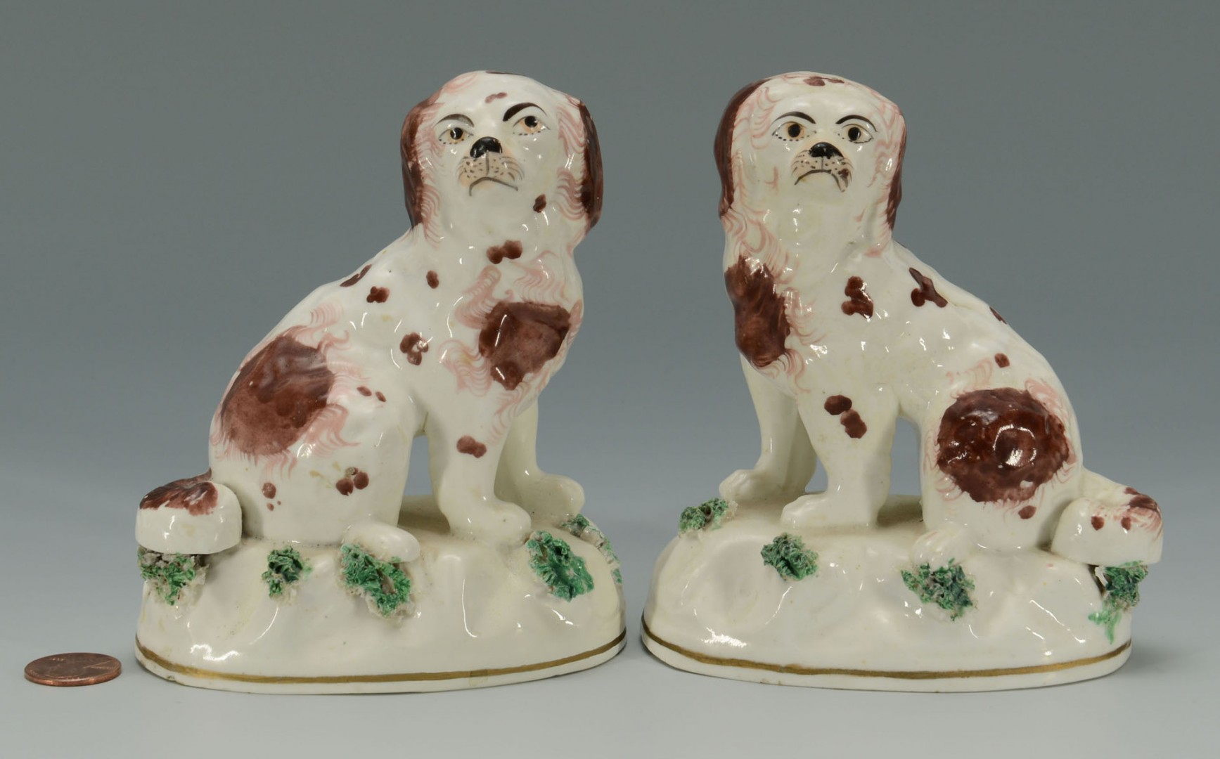 Lot 439: 2 Small Staffordshire King Charles Spaniel dog fig
