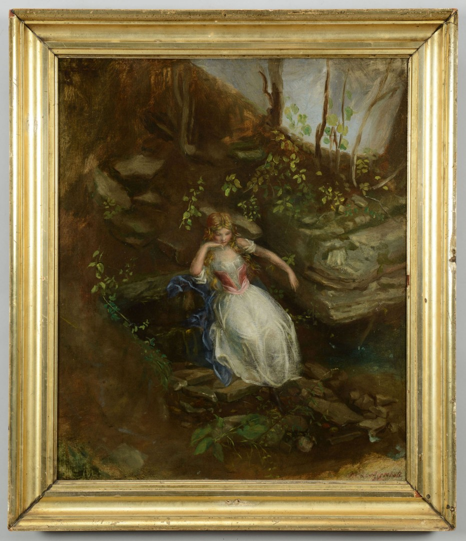O/C signed Nicola Marshall, Young Girl in a Forest