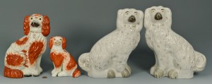 Lot 440: 4 Staffordshire Spaniels