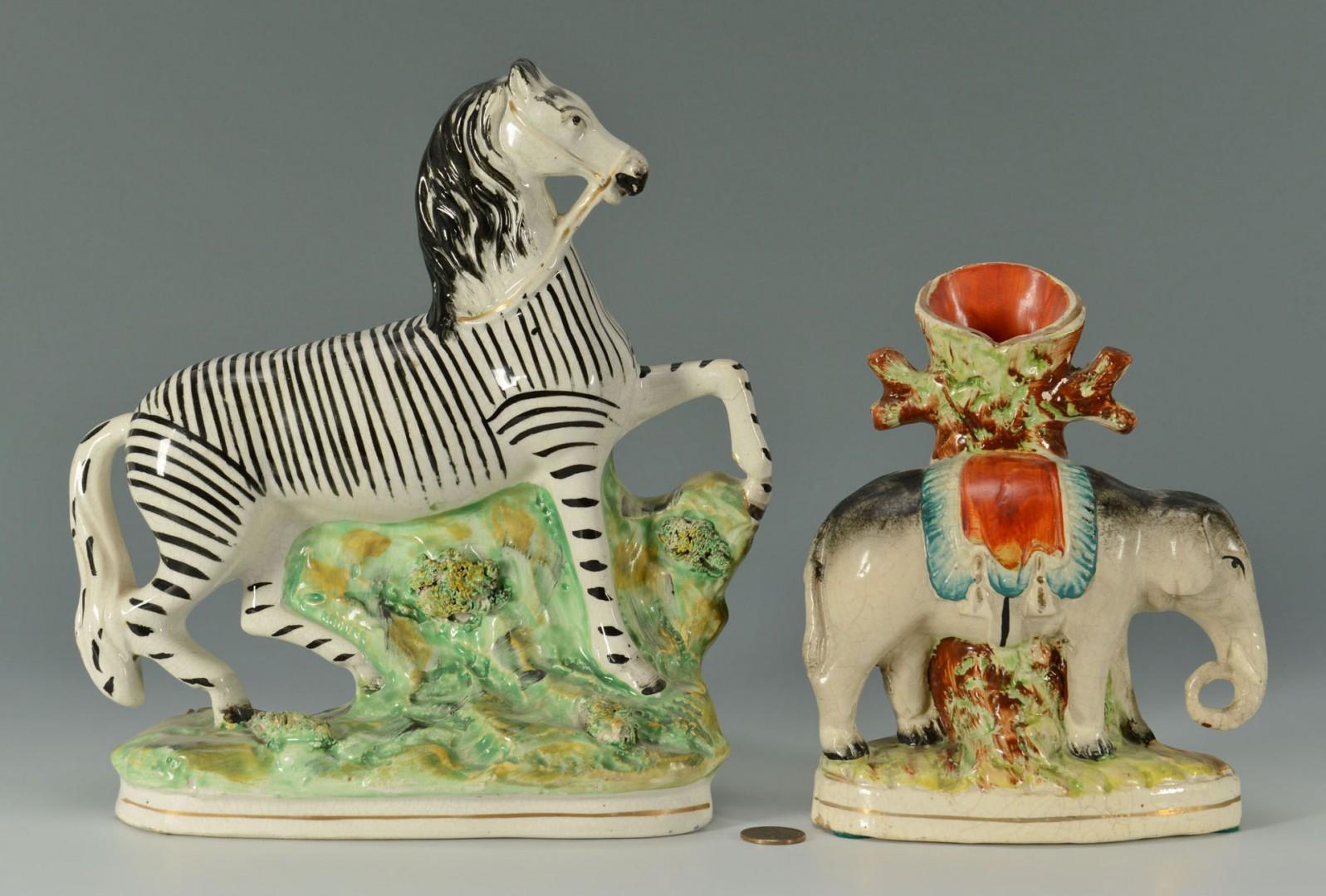 Staffordshire Elephant & Zebra Figures