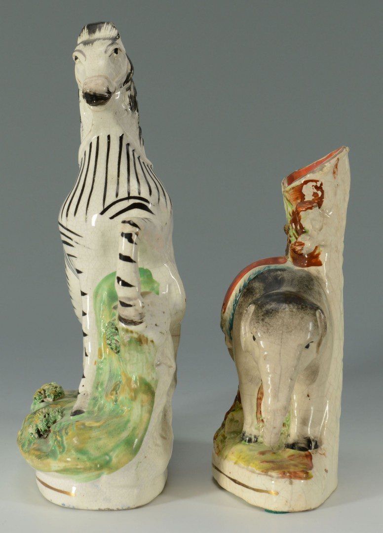 Lot 441: Staffordshire Elephant & Zebra Figures