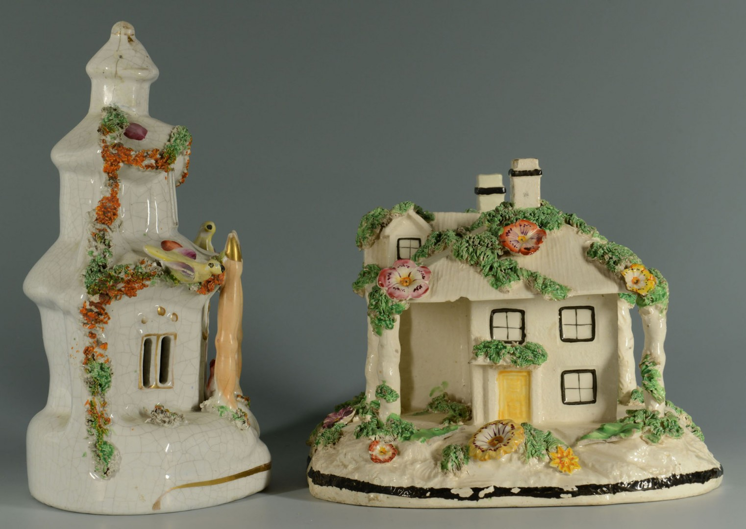 Two Staffordshire House Pastille Burners