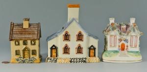 Lot 443: 3 Staffordshire Money Box Cottages
