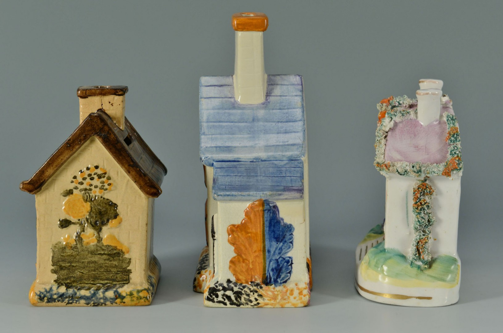 3 Staffordshire Money Box Cottages